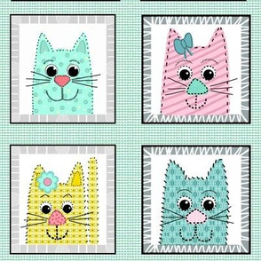 Applique Kitty (pastel) Quilt Blocks