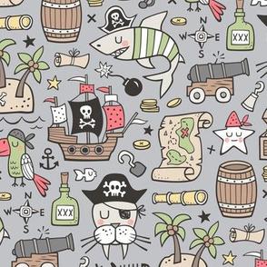 Pirate Sharks Nautical Ocean Adventure Doodle on Grey