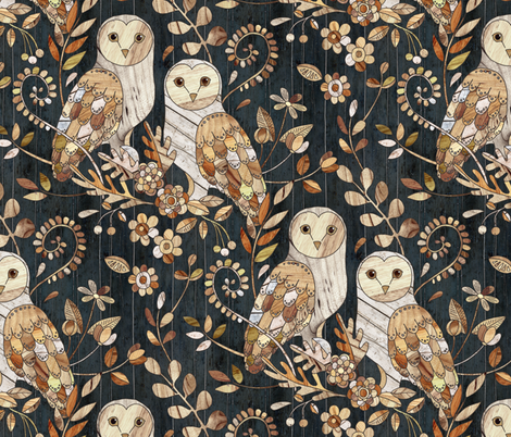 Wooden Wonderland Barn Owl Collage - large fabric by micklyn on Spoonflower - custom fabric