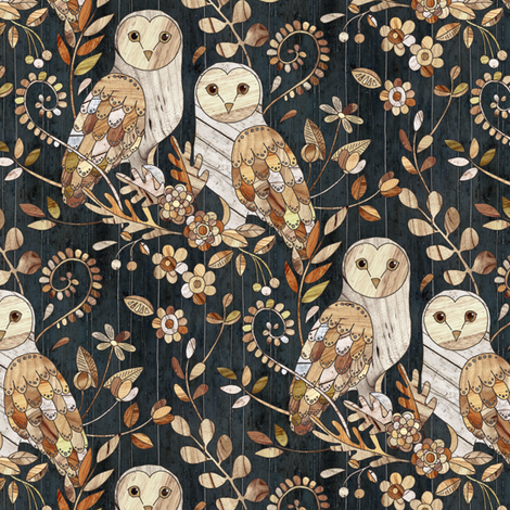 Wooden Wonderland Barn Owl Collage - small fabric by micklyn on Spoonflower - custom fabric