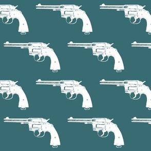 "3"" Colt Revolvers on Teal"
