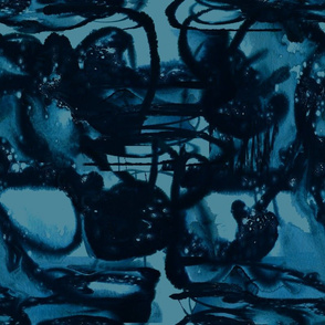abstract ocean teal  black watercolor
