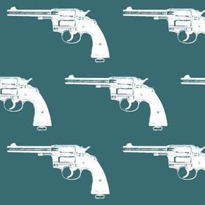 "4"" Colt Revolvers on Teal"