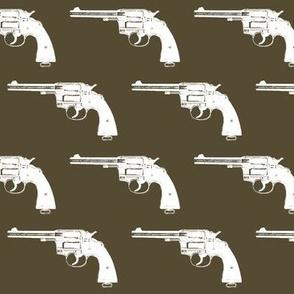 "3"" Colt Revolvers on Dark Olive"