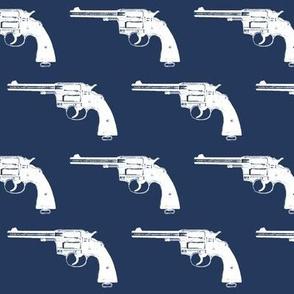 "3"" Colt Revolvers on Navy Blue"