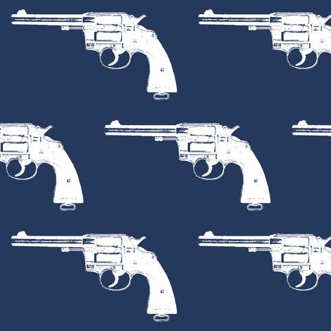 """4"""" Colt Revolvers on Navy Blue fabric by thinlinetextiles on Spoonflower - custom fabric"""