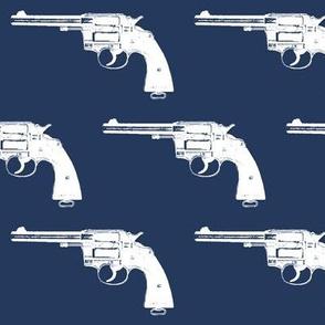 "4"" Colt Revolvers on Navy Blue"