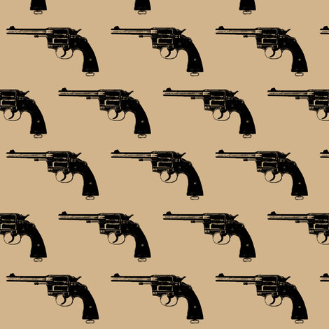 """2"""" Colt Revolvers on Tan fabric by thinlinetextiles on Spoonflower - custom fabric"""
