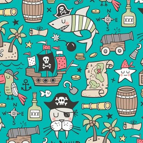 Pirate Sharks Nautical Ocean Adventure Doodle on Teal Green
