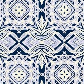 Farmhouse Tiles on Indigo Blue - Medium Scale