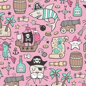Pirate Sharks Nautical Ocean Adventure Doodle on Pink