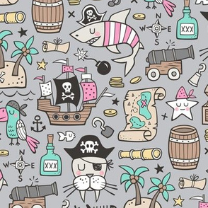 Pirate Sharks Nautical Ocean Adventure Doodle Pink on Grey