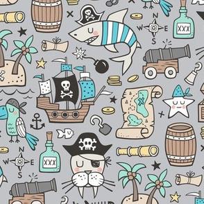 Pirate Sharks Nautical Ocean Adventure Doodle Blue on Grey