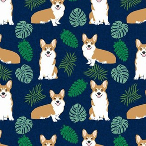 corgi monstera tropical dog breed pet fabric corgis navy