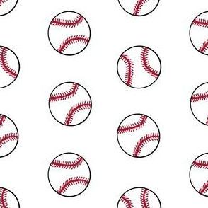 baseball sports themed baseballs fabric design white