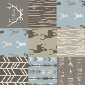 Patchwork Deer - blue, tan and brown - ROTATED