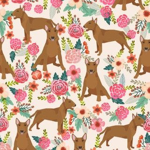 bull terrier red coat floral dog breed pattern cream