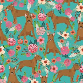 bull terrier red coat floral dog breed pattern turquoise