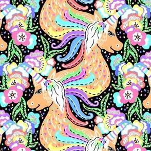 TILE-limolida-rainbow-unicorn-sparkle-pastel-flowers-pattern-illustration