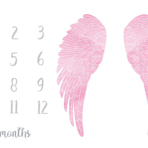 "54""x36"" milestone blanket - wings - pink watercolor"