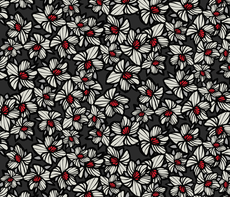 Orchid Floral Pattern In Brown Black White Red Wallpaper