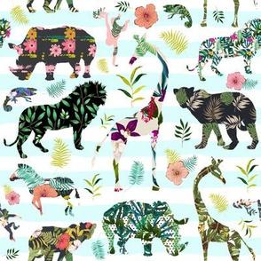 """8"""" Patchwork Tropical Safari - Aqua Stripes"""