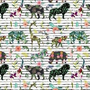 "4"" Patchwork Tropical Safari - Black & White Stripes"