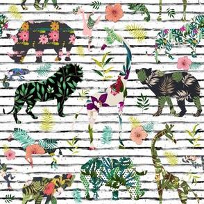 "8"" Patchwork Tropical Safari - Black & White Stripes"