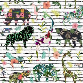 "21"" Patchwork Tropical Safari - Black & White Stripes"