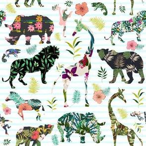 "8"" Patchwork Tropical Safari - Thin Aqua Stripes"