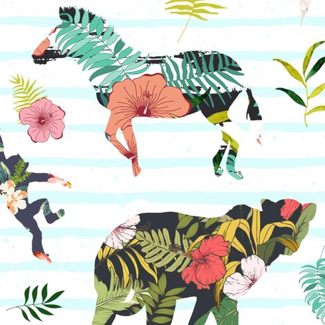 "21"" Patchwork Tropical Safari - Thin Aqua Stripes fabric by shopcabin on Spoonflower - custom fabric"