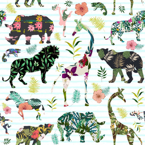 "21"" Patchwork Tropical Safari - Thin Aqua Stripes"