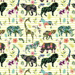 "4"" Patchwork Tropical Safari - Bright Yellow Stripes"