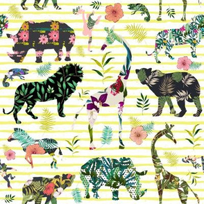 "8"" Patchwork Tropical Safari - Bright Yellow Stripes"
