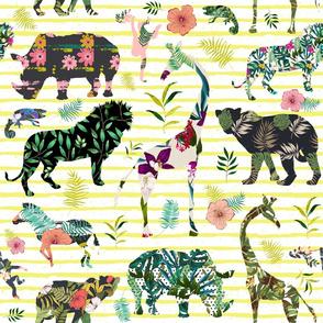 "21"" Patchwork Tropical Safari - Bright Yellow Stripes"