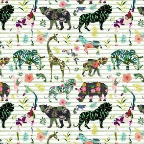 """4"""" Patchwork Tropical Safari - Thin Muted Green Stripes"""