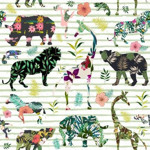 """8"""" Patchwork Tropical Safari - Thin Muted Green Stripes"""