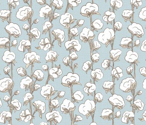 Farmhouse Cotton Stalk Stripe // modern farmhouse cotton boll bloom cotton vine stalk fluff light blue cream fabric fabric by liz_sawyer_design on Spoonflower - custom fabric