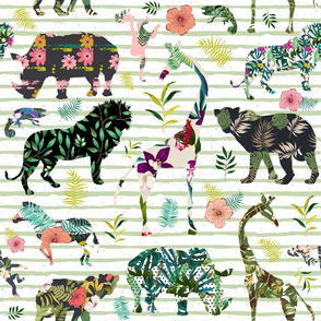 """21"""" Patchwork Tropical Safari - Thin Muted Green Stripes"""