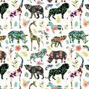 "4"" Patchwork Tropical Safari - Thin Pink Stripes"