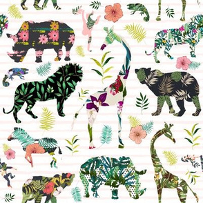 "8"" Patchwork Tropical Safari - Thin Pink Stripes"