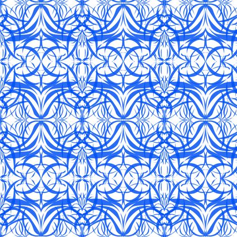 Blue Filigree on White fabric by rhondadesigns on Spoonflower - custom fabric