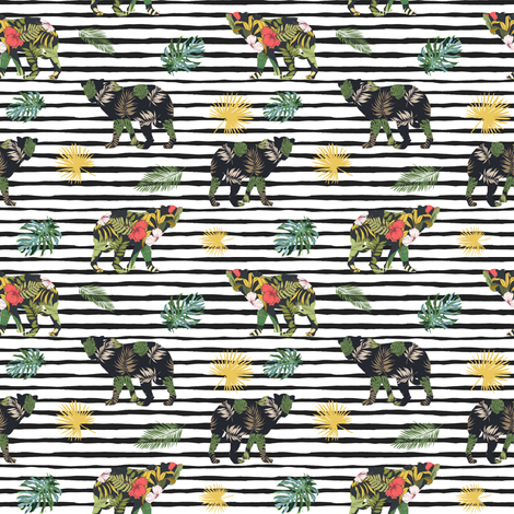 "4"" Tropical Safari Mix & Match - Black Stripes fabric by shopcabin on Spoonflower - custom fabric"
