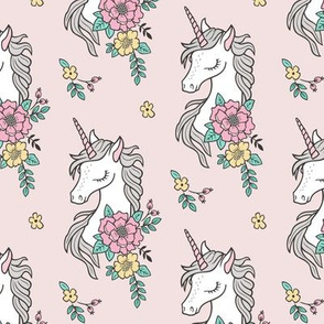 Dreamy Unicorn & Vintage Boho Flowers on Light Pink Smaller
