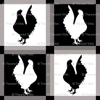 Rooster Check Black And White