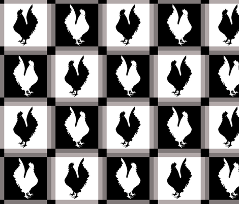 Rooster Check Black And White fabric by theartofvikki on Spoonflower - custom fabric