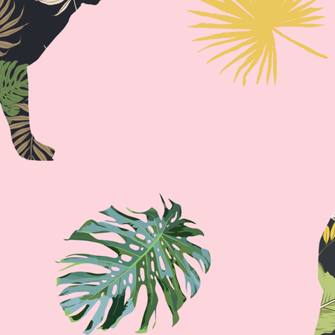 "21"" Tropical Safari Mix & Match - Pink fabric by shopcabin on Spoonflower - custom fabric"