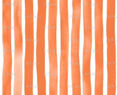 Vertical Tangerine Watercolor Stripes by Friztin