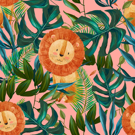 """8"""" Summer Lion - Coral fabric by shopcabin on Spoonflower - custom fabric"""