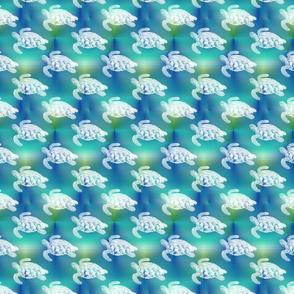 Sea Turtles Swim on Blue Aqua Sea